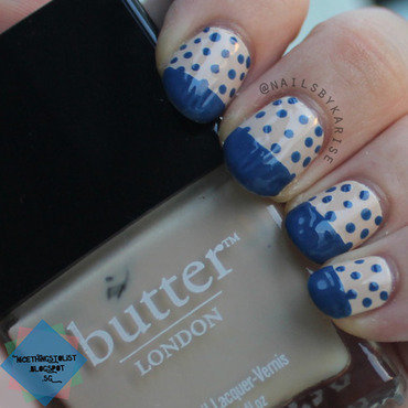 Herschel inspired dotted blue tip nail art close up thumb370f