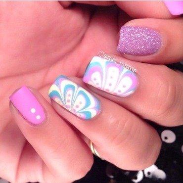 Bleached neon watermarble nail art by anas_manis