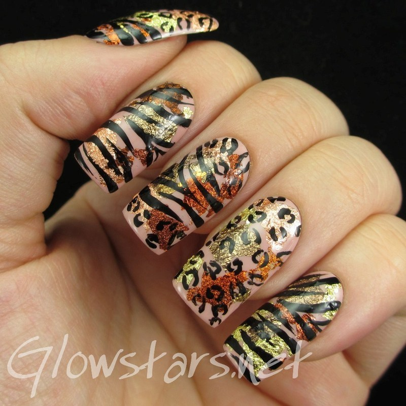 Leopard and Zebra on Metallic Leaf nail art by Vic 'Glowstars' Pires
