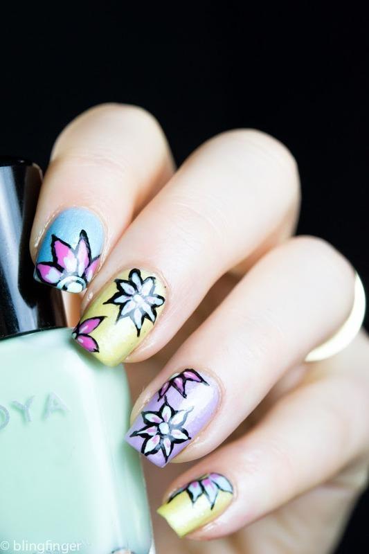 Zoya Delight Flowers nail art by  Petra  - Blingfinger