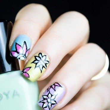 Zoya Delight Flowers nail art by  Petra  - Blingfinger