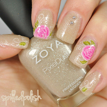 Floral Water Decals nail art by Maddy S