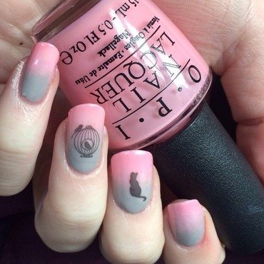 Hopeful Kitty  nail art by allwaspolished