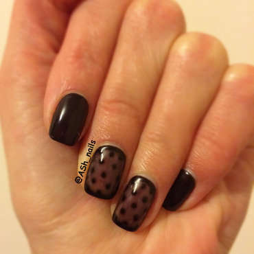 Translucent black polka-dot design nail art by Anna Sh