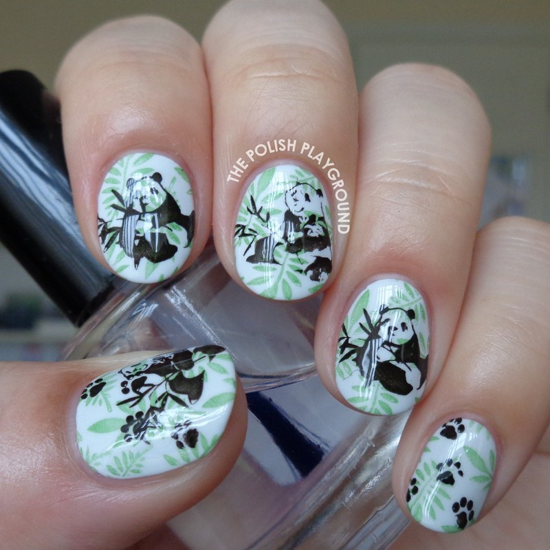 Pandas in the Forest nail art by Lisa N
