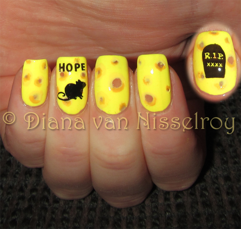 R.I.P sweet ratty Hope nail art by Diana van Nisselroy
