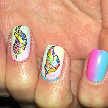 colorful feathers & gradient nail art by Anna Sh