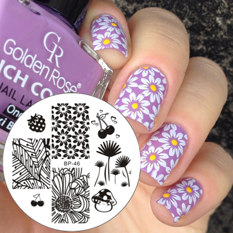 Pretty Violet Floral Stamping Nails nail art by Born Pretty