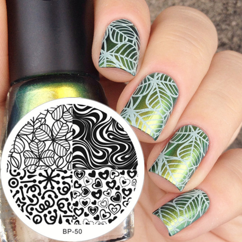 Stunning Green Leaf Stamping Nails nail art by Born Pretty