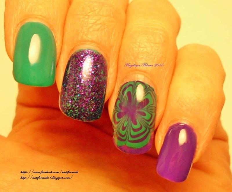Purple & Teal Water Marble nail art by Angelique Adams