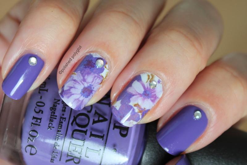 Purple flowery nails nail art by Polished Polyglot