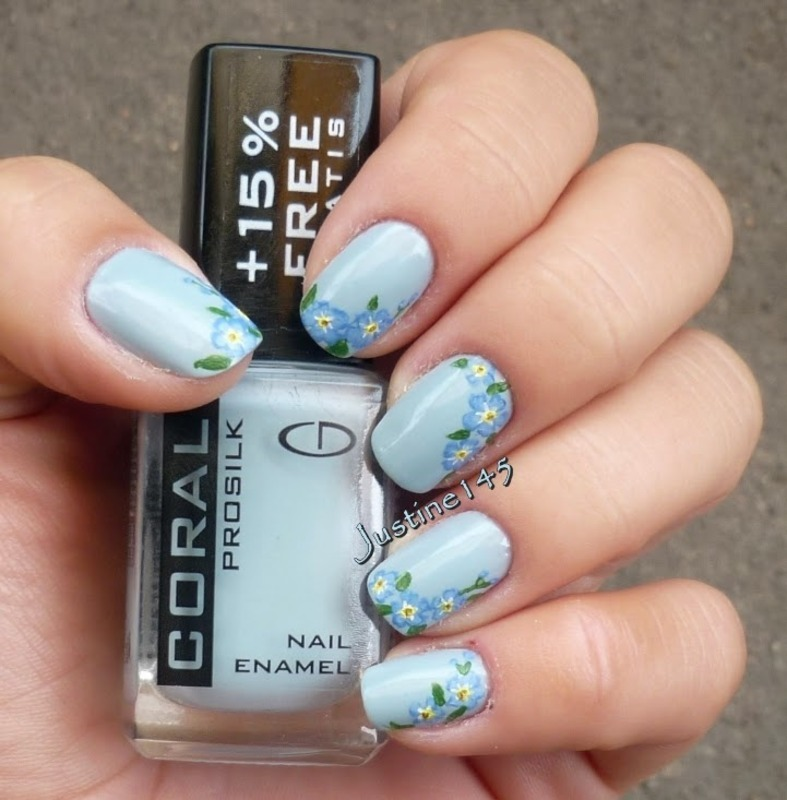 forget-me-not nail art by Justine145
