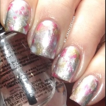 Design with plastic wrap nail art by Mycrazydesigns