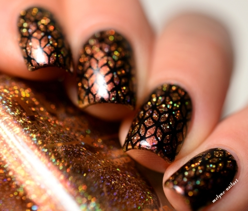 geometric nails with Burnin\'Up (H) By Fun Lacquer nail art by melyne ...