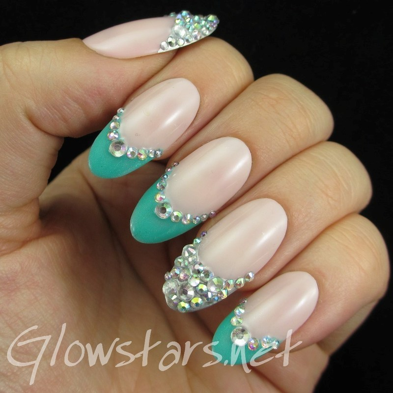 Turquoise Rhinestone French Tips Nail Art By Vic Glowstars Pires