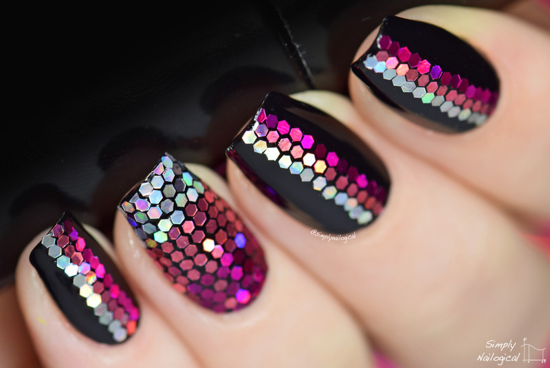 Pink holo glitter placement nail art by simplynailogical
