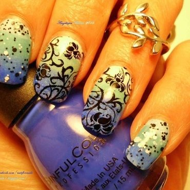 Blue Ombre Floral  nail art by Angelique Adams