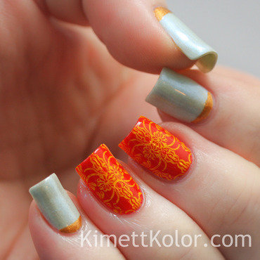 October Theme: Opals and Marigolds nail art by Kimett Kolor