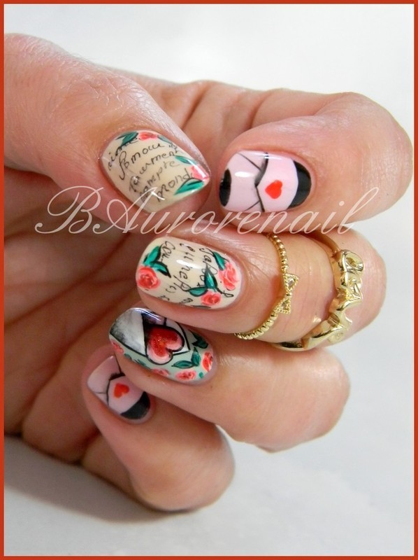 St Valentin nail art by BAurorenail
