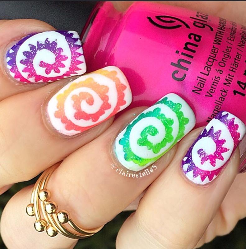 Rainbow Paisley Swirls nail art by Claire O'Sullivan