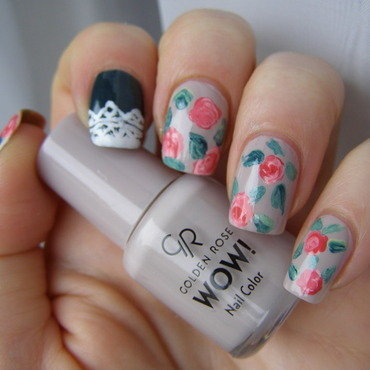 Simple Roses nail art by Szilvia