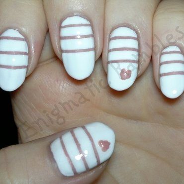 Striped Heart Nails nail art by Enigmatic Rambles