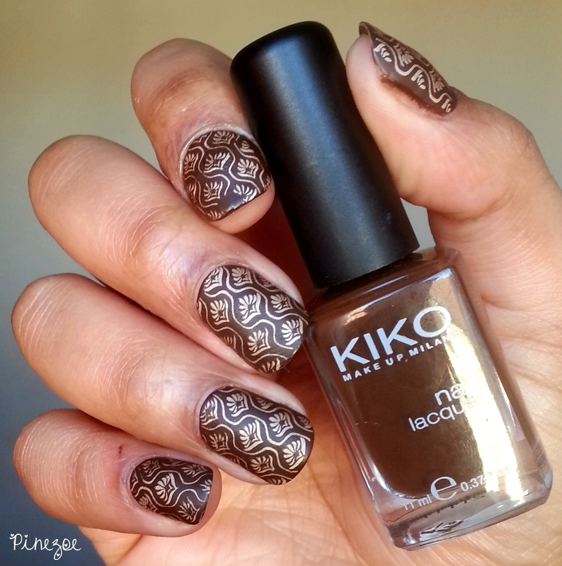 Antique Gold & Chocolate nail art by Pinezoe