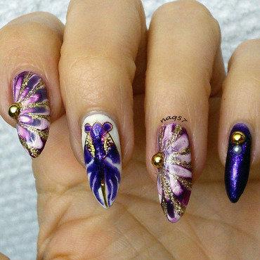 Purple Goldfish nail art by Nora (naq57)