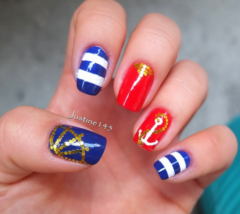 sailor manicure nail art by Justine145