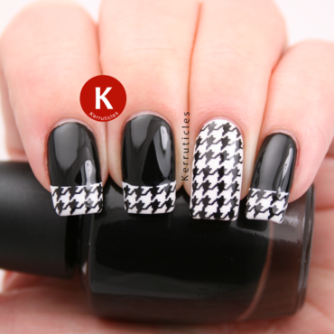 Black and white houndstooth tips nail art by Claire Kerr