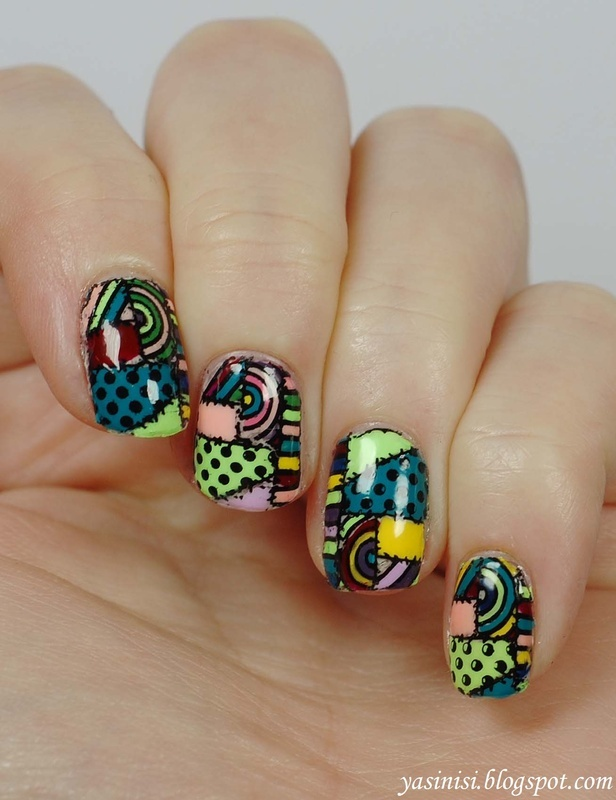 Patchwork nail art by Yasinisi