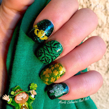 WEARIN O' THE GREEN nail art by Marla Calandra