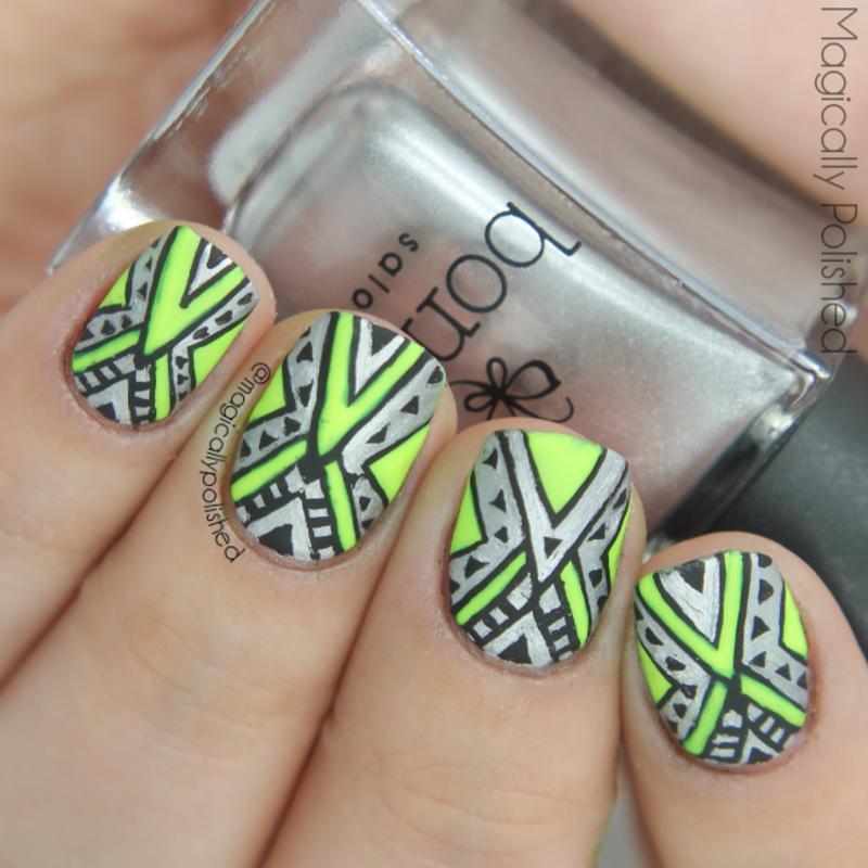 Neon Tribal Nails nail art by Ana
