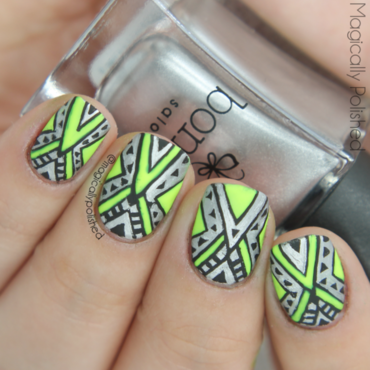 Neon Tribal Nails nail art by Ana
