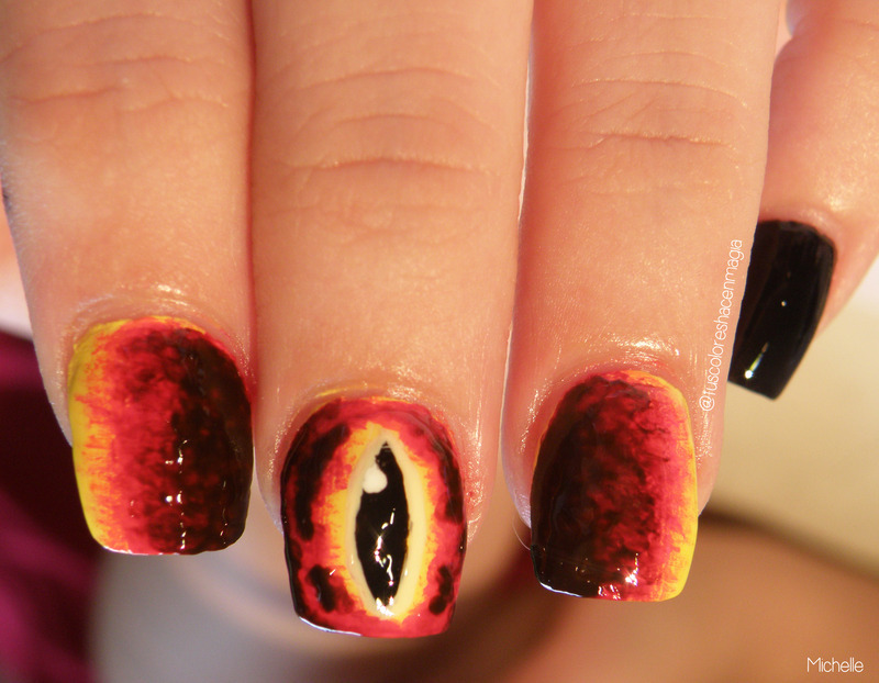 Eye of Sauron nail art by Michelle Mullett