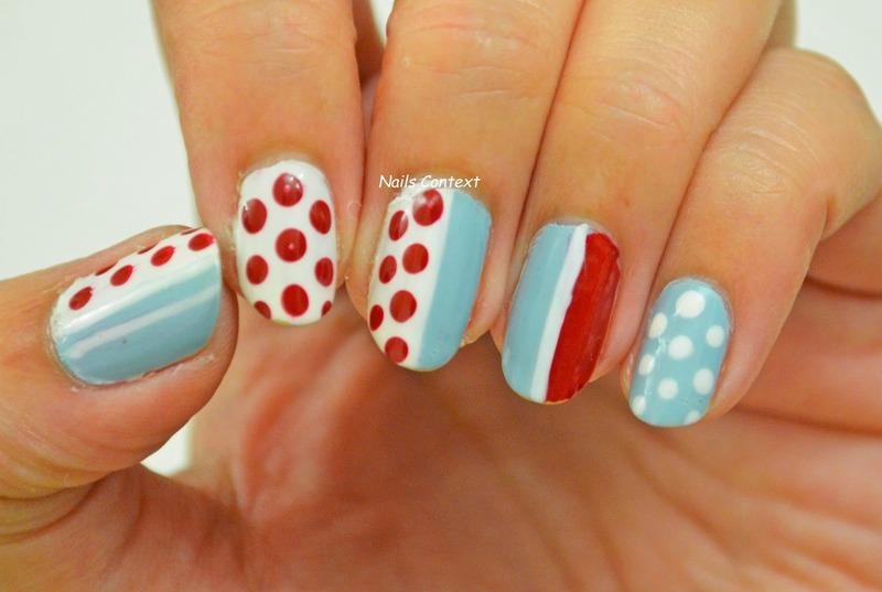 Blue n Red Nails nail art by NailsContext