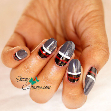 Striped Nails nail art by Stacey  Castanha