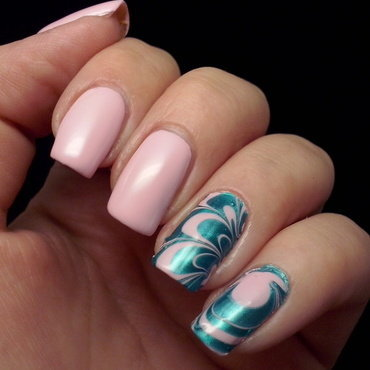 Water marble nail art by Alice in Wonderland CZ