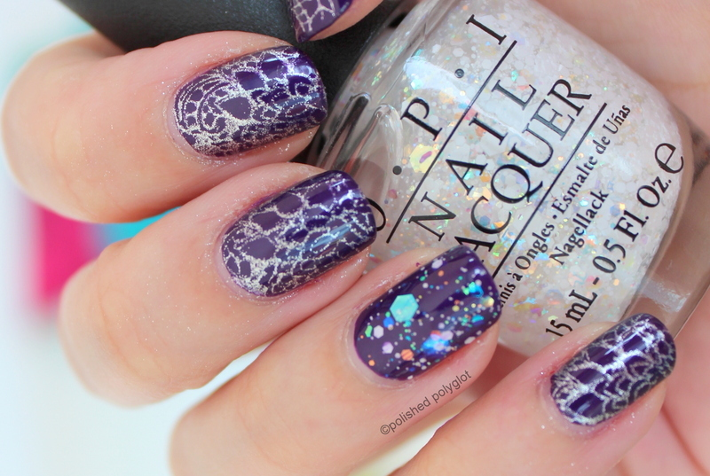 Silver stamping over deep indigo nail art by Polished Polyglot ...