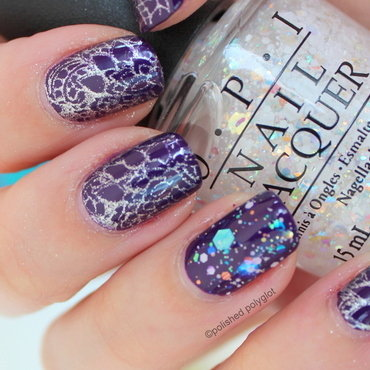 Silver stamping over deep indigo nail art by Polished Polyglot