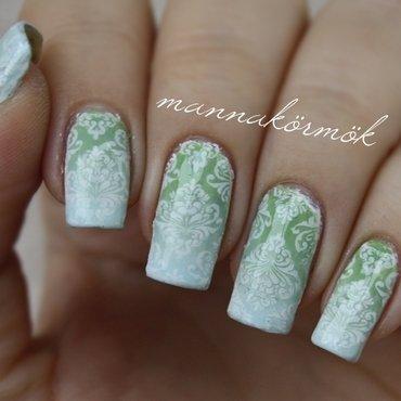 blue & green ombre nail art by Marianna Kovács