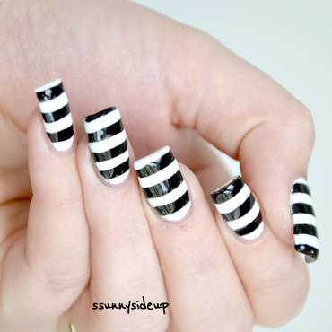 Black and white stripes nail art by ssunnysideup (Sabrina)