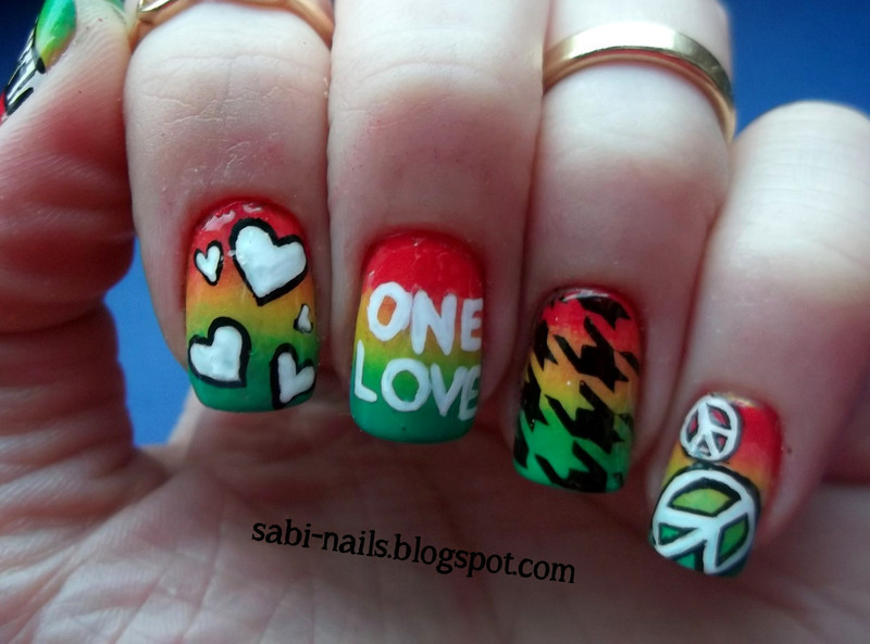 Reggae Music Nails Nail Art By Sabina Nailpolis Museum Of Nail Art