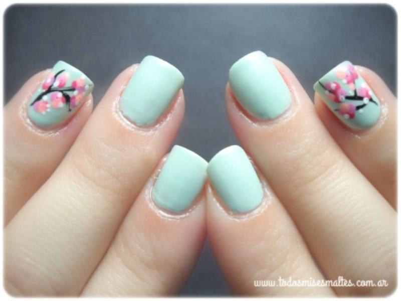 Cherry Blossom nail art by Maripi