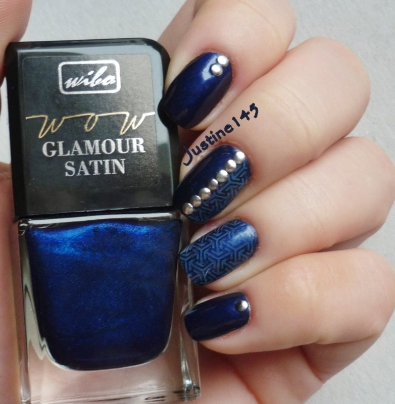 navy blue with studs nail art by Justine145