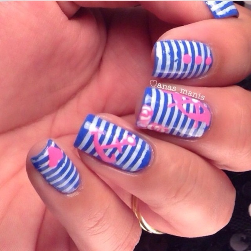 Nautical  nail art by anas_manis