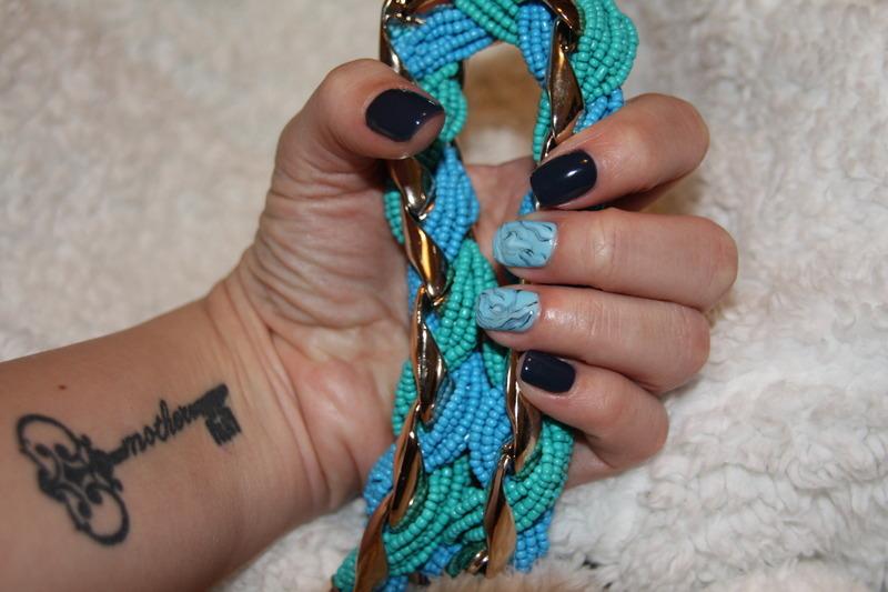 Chanel Blue Satin nail art by Irina