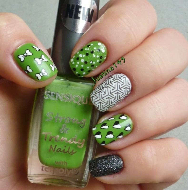 green mix n match nail art by Justine145