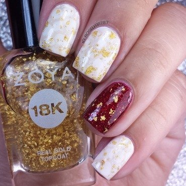 Golden Red nail art by Rose Mercedes