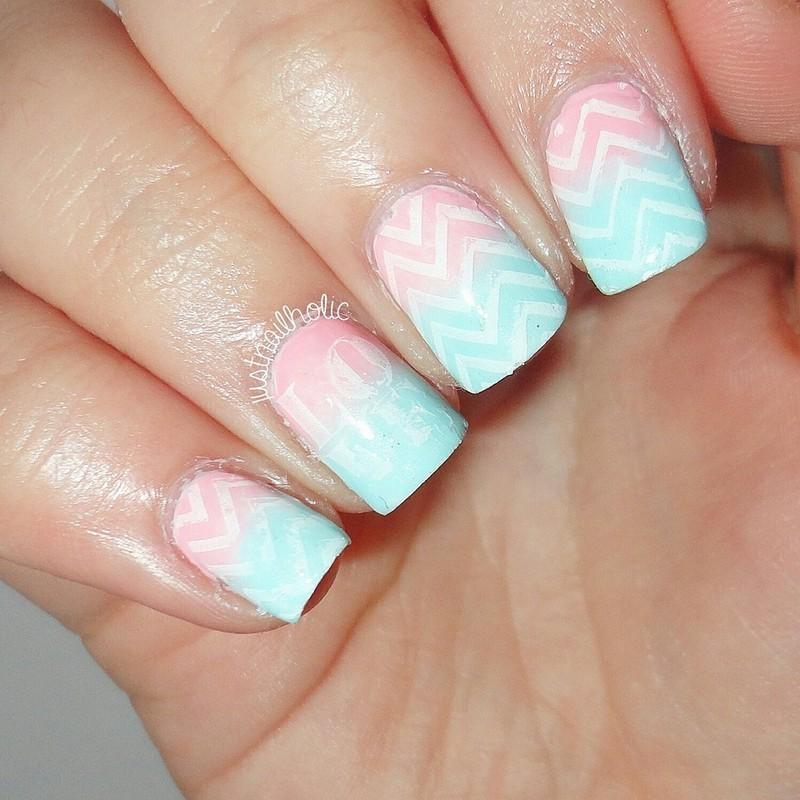 Chevron Love nail art by Melany Antelo